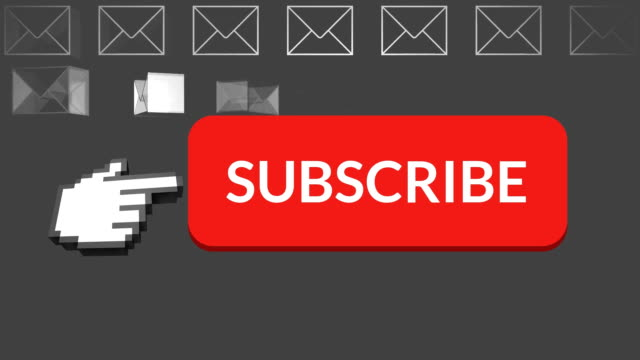 Subscribe button with pointing hand on social media