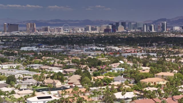 Suburban Las Vegas with View of the Strip - Drone Shot