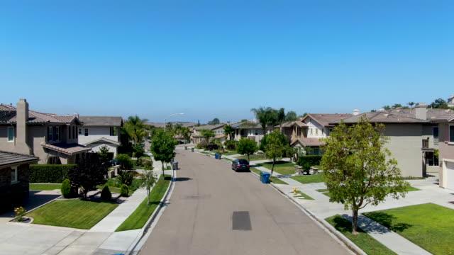 Suburban neighborhood street with big villas, San Diego
