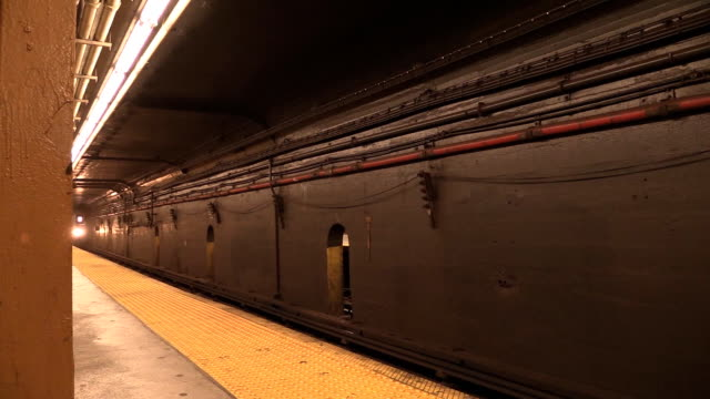 Subway 7 Train Arriving at Station in NYC video