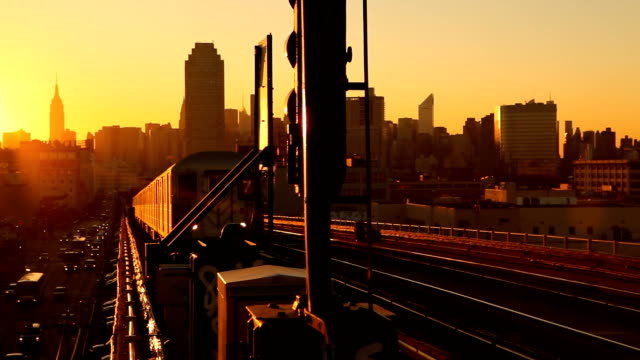 Subway 7 Train at Sunset in Queens New York City video