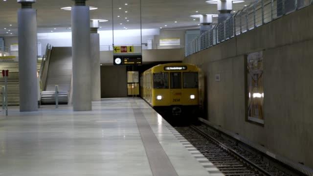 Subway arriving the Station in Berlin Berlin, Germany - April 5, 2017: Subway arriving the Station in Berlin subway platform stock videos & royalty-free footage