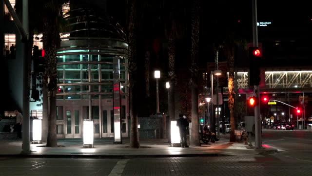 Subway station entrance at night video