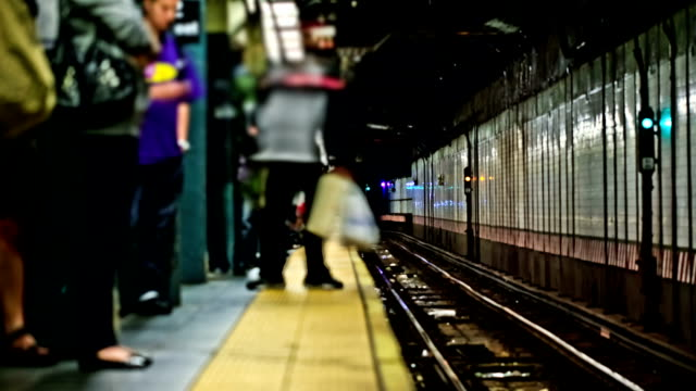NYC Subway Time Lapse v10. NYC subway time lapse clip of multiple trains. railroad station platform stock videos & royalty-free footage