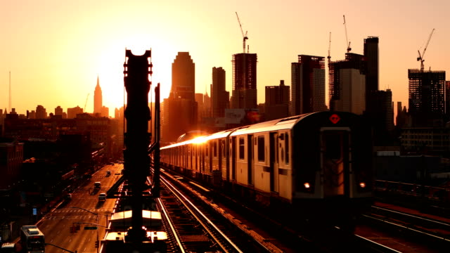 Subway Train Approaching at Sunset video