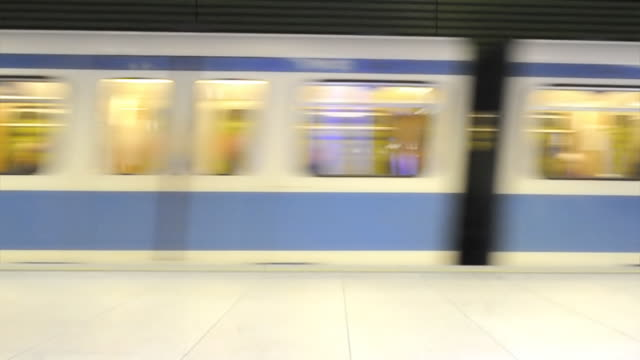 Subway train entering station (HD720p)  subway platform stock videos & royalty-free footage