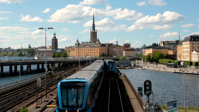 subway train in a center of Stockholm, Sweden video