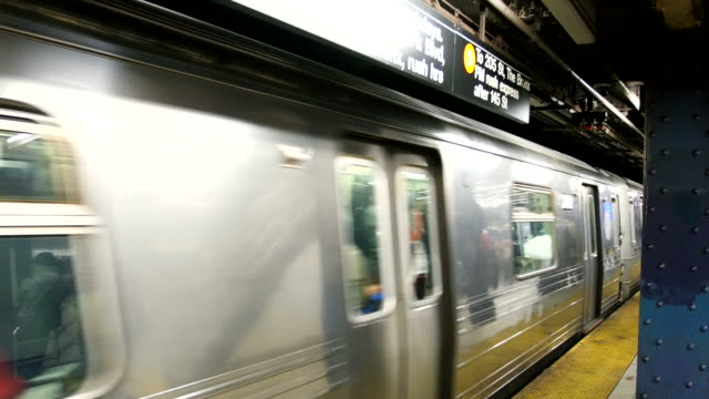 Subway train moving out of station in New York video