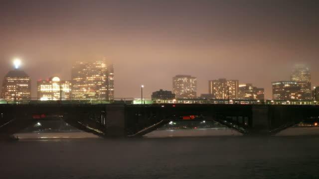 Subway train on the Longfellow Bridge in Boston video