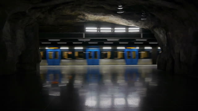 Subway train underground Train subway metro cave underground stockholm stock videos & royalty-free footage
