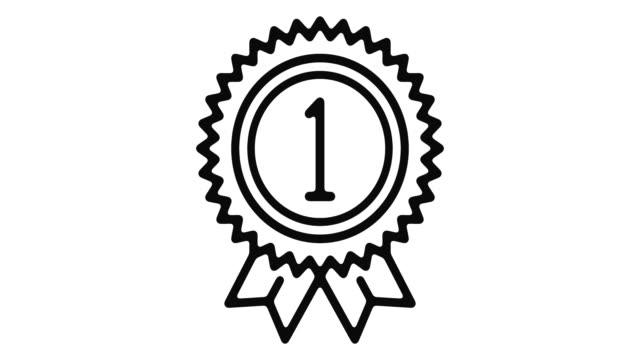 vídeos de stock e filmes b-roll de success line motion graphic - badge