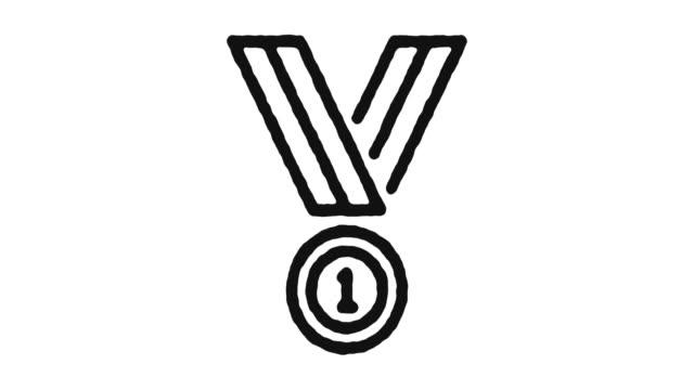 vídeos de stock e filmes b-roll de success medal icon animation footage & alpha channel - badge