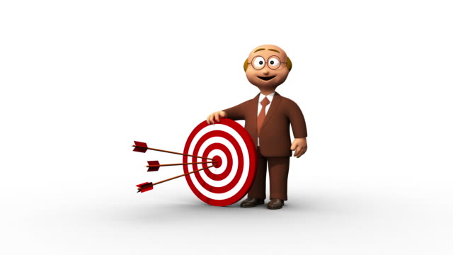 Successful 3D Senior Business Man And Bullseye video