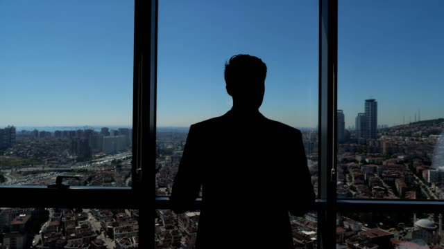 Successful businessman is looking at panoramic city view from his modern apartment.