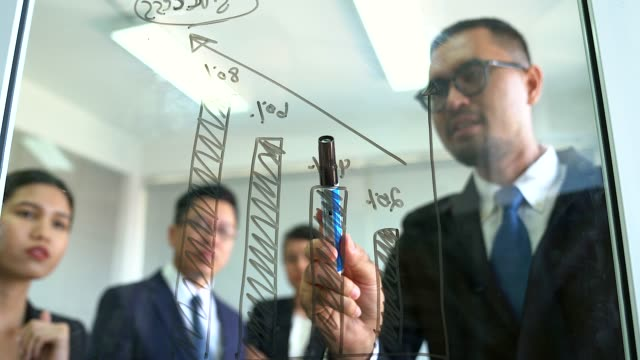 Successful businesspeople drawing graphs on glass presentation board.Businessman leader writing on the whiteboard present business marketing graph while meeting with colleagues in office.