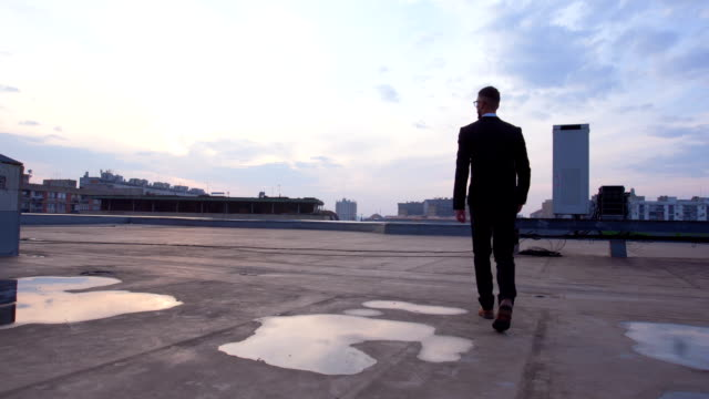成功した投資家の屋根の上を歩く - 屋根点の映像素材/bロール