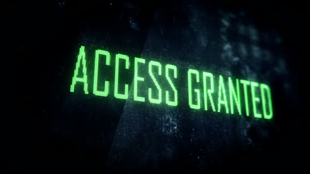 Successful login, access granted screen text, system message, notification
