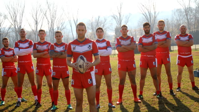 Successful Rugby team Group of men playing rugby outdoors rugby stock videos & royalty-free footage