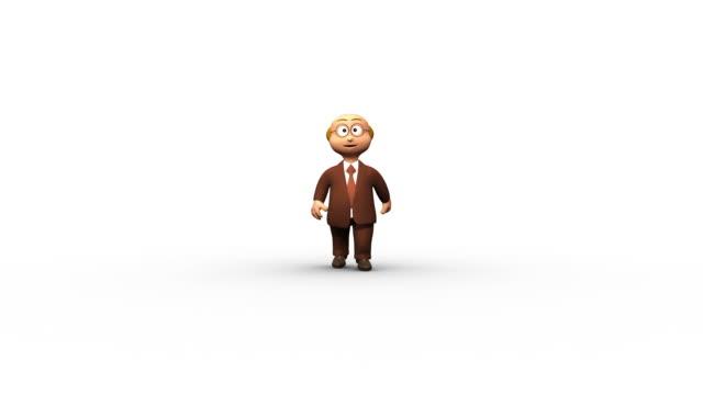 успешный пожилая 3d деловой человек пальцы вверх - характеры стоковые видео и кадры b-roll