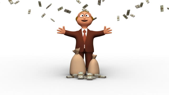 Successful Senior 3D Business Man With Falling Dollars video