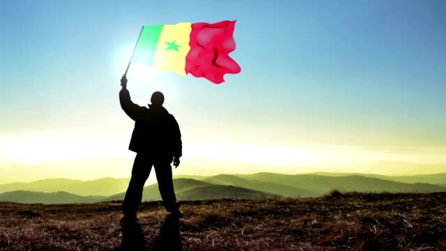 Successful silhouette man winner waving Senegal flag on top of the mountain peak, Cinemagraph LOOP background Successful silhouette man winner waving Senegal flag on top of the mountain peak, Cinemagraph LOOP background senegal stock videos & royalty-free footage