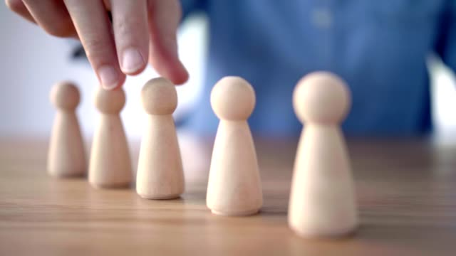 Video Successful team leader, Businesswoman hand choose people standing out from the crowd.