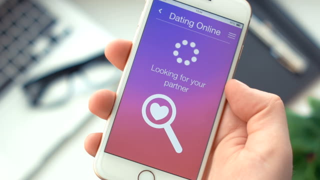 Successfully searching for partner on dating app on the smartphone