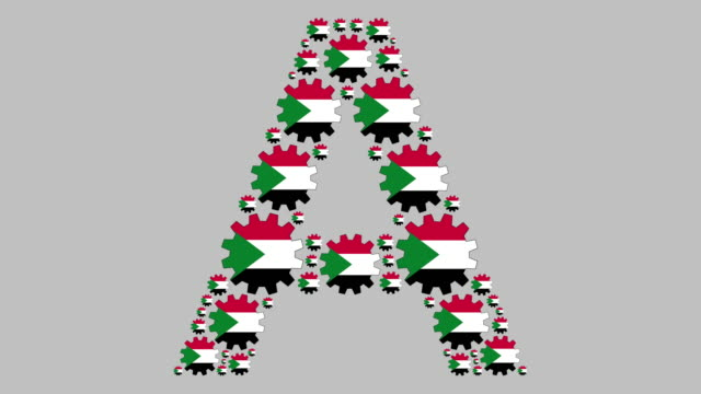 Sudanese letter A Turning sudanese flag gears shaping the letter A less than 10 seconds stock videos & royalty-free footage