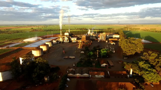 sugar cane industry aerial view video