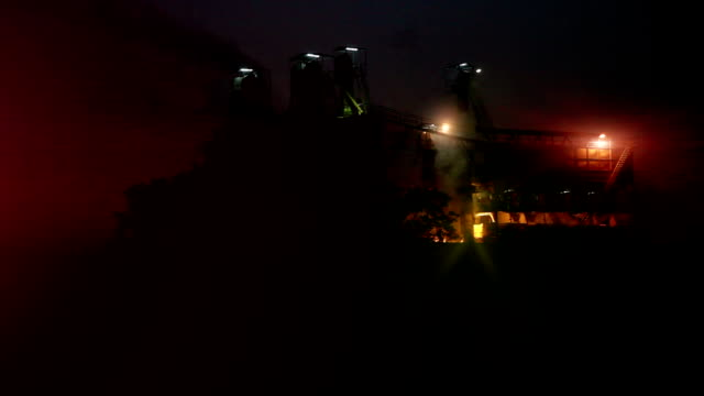 Sugar mill industry at night