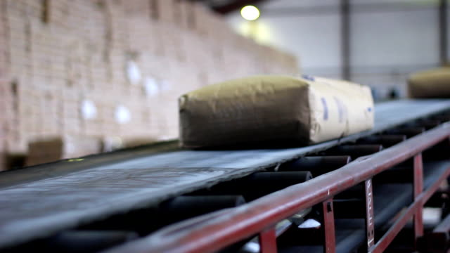 Sugar on the production line in a Warehouse video