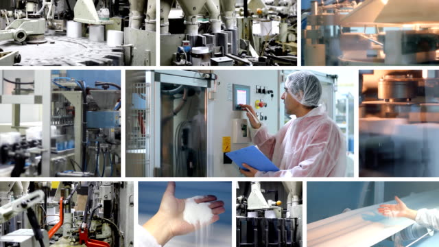 Sugar production, packaging and storage, montage video
