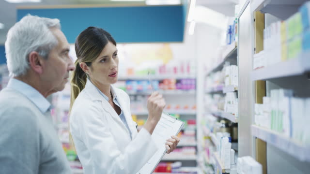 I suggest this one... 4k footage of a pharmacist assisting an elderly customer pharmacist stock videos & royalty-free footage