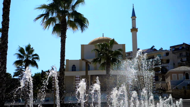 Suggestive view of Fountains and mosque in Durres city,Albania