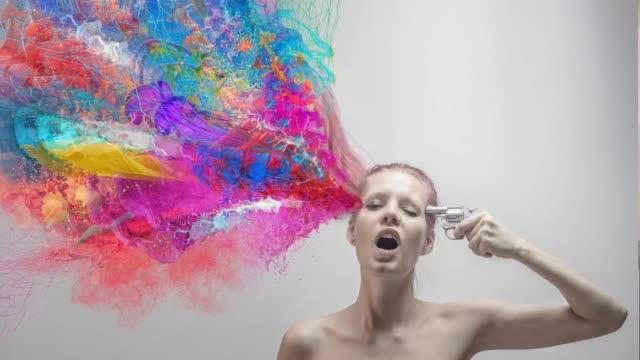 vídeos de stock e filmes b-roll de suicide. colors explosion - surrealismo