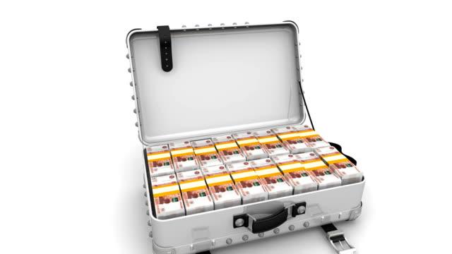suitcase full of russian rubles - bonus video stock e b–roll