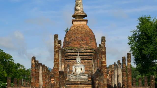 TD, WS, Sukhothai Historical Park, Sa Sri temple, Thailand tilt down, wide shot, Symmetry, view of Sukhothai Historical Park, Sa Sri temple, Thailand sukhothai stock videos & royalty-free footage