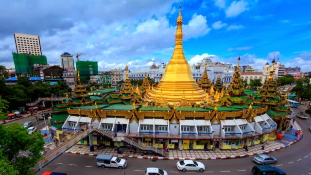 Sule Pagoda Landmark Travel Place Of Yangon City, Myanmar 4K Time Lapse video