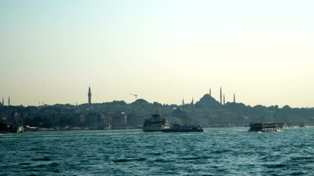 4K: Suleymanie Mosque from the Galata Bridge in Istanbul. - Stock video video