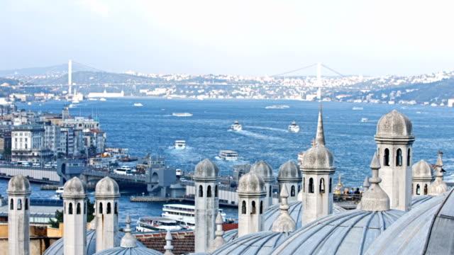 HD: Suleymaniye Mosque and Bosphorus Bridge; Istanbul, Turkey video