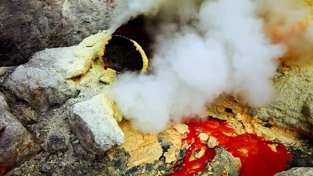 Sulfur mine at Ijen crater video