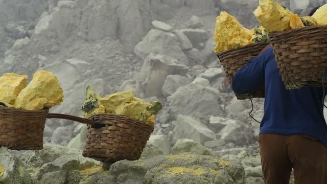 Sulfur Miner Carrying Baskets at Kawah Ijen Volcano video
