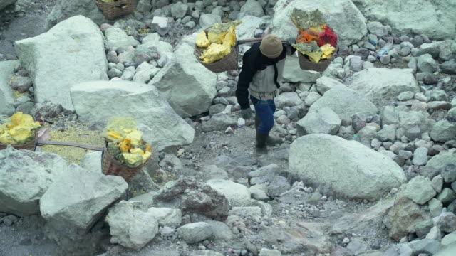 Sulfur worker, Mount Kawah Ijen volcano video