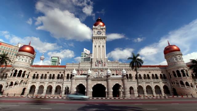 sultan abdul samad building, kuala lumpur, malaysia - cumhuriyet günü stok videoları ve detay görüntü çekimi