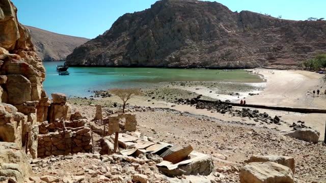 阿曼蘇丹國、穆桑丹半島、阿曼灣、古老的哈法村 - oman 個影片檔及 b 捲影像