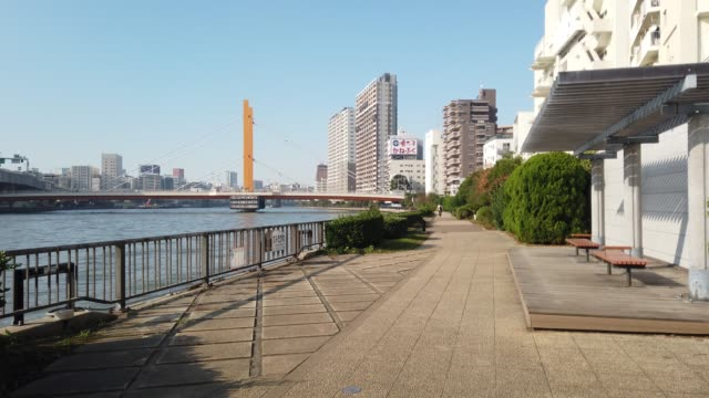 Sumida River landscape of the Tokyo Sumida River landscape of the Tokyo riverbank stock videos & royalty-free footage