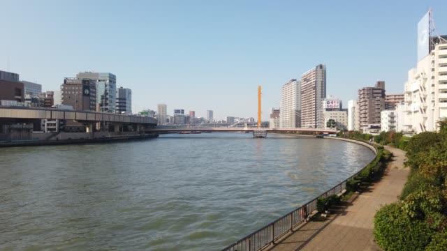 東京の隅田川の風景 - 川岸点の映像素材/bロール