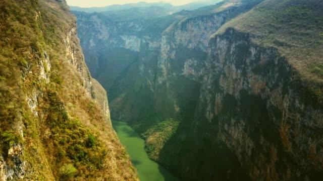 Sumidero Canyon in Chiapas Mexico Aerial video of Sumidero Canyon in Chiapas, Mexico. canyon stock videos & royalty-free footage