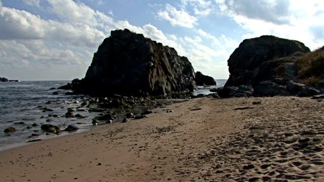 Summer beach coast near the sea with blue sky video