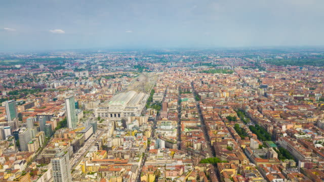 summer day milan cityscape central train station aerial panorama 4k time lapse italy - milan railway video stock e b–roll